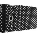 Apple iPad Mini Black White Polka Dot 360 Rotating Case Cover Pouch Stand Angle 3
