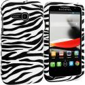 Alcatel One Touch Evolve 5020T Black/White Zebra Hard Rubberized Design Case Cover Angle 1