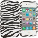 Apple iPhone 4 / 4S Black/White Zebra Hard Rubberized Design Case Cover Angle 1