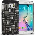Samsung Galaxy S6 Black White Squares TPU Design Soft Rubber Case Cover Angle 1