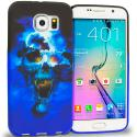 Samsung Galaxy S6 Edge Blue Skulls TPU Design Soft Rubber Case Cover Angle 1