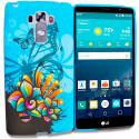 LG G Vista 2 Blue Butterfly Flower TPU Design Soft Rubber Case Cover Angle 1