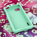 LG Optimus F3 MPERO Full Protection Hard Rubberized Mint Case Cover Angle 2