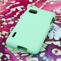 LG Optimus F3 MPERO Full Protection Hard Rubberized Mint Case Cover Angle 3