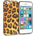 Apple iPhone 5/5S/SE Black Leopard on Golden TPU Design Soft Rubber Case Cover Angle 1