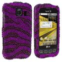 LG Optimus S LS670 / U / V Purple n Black Zebra Bling Rhinestone Case Cover Angle 1