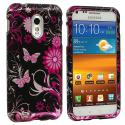 Samsung Epic Touch 4G D710 Sprint Galaxy S2 Pink Butterfly Flower Design Crystal Hard Case Cover Angle 1
