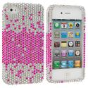 Apple iPhone 4 / 4S Pink Silver Bling Rhinestone Case Cover Angle 1