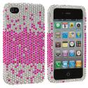Apple iPhone 4 / 4S Pink Silver Bling Rhinestone Case Cover Angle 2