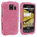 LG Optimus S LS670 / U / V Light Pink Bling Rhinestone Case Cover Angle 1