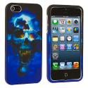 Apple iPhone 5/5S/SE Blue Skull Hard Rubberized Design Case Cover Angle 1