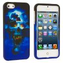 Apple iPhone 5/5S/SE Blue Skull Hard Rubberized Design Case Cover Angle 2