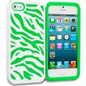 Apple iPhone 5/5S/SE Neon Green / White Hybrid Zebra Hard/Soft Case Cover Angle 1