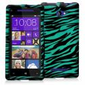HTC Windows 8X Black / Baby Blue Zebra Design Crystal Hard Case Cover Angle 1