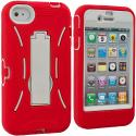 Apple iPhone 4 / 4S Red / White Hybrid Heavy Duty Hard/Soft Case Cover with Stand Angle 2