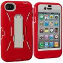 Apple iPhone 4 / 4S Red / White Hybrid Heavy Duty Hard/Soft Case Cover with Stand Angle 3