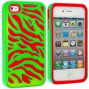 Apple iPhone 4 / 4S Red / Neon Green Hybrid Zebra Hard/Soft Case Cover Angle 1