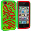 Apple iPhone 4 / 4S Red / Neon Green Hybrid Zebra Hard/Soft Case Cover Angle 2