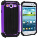 Samsung Galaxy S3 Purple Hybrid Rugged Hard/Soft Case Cover Angle 1