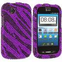 ZTE Avail Z990 Black / Purple Zebra Bling Rhinestone Case Cover Angle 1