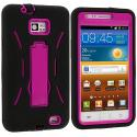 Samsung Galaxy S2 i9100 Black / Hot Pink Hybrid Heavy Duty Hard/Soft Case Cover with Stand Angle 2