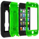 Apple iPod Touch 4th Generation Black / Green Hybrid Heavy Duty Hard/Soft Case Cover with Stand Angle 2