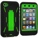 Apple iPod Touch 4th Generation Black / Green Hybrid Heavy Duty Hard/Soft Case Cover with Stand Angle 3