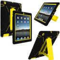 Apple iPad 4th 3rd 2nd Gen Black / Yellow Hybrid Heavy Duty Hard/Soft Case Cover with Stand Angle 1