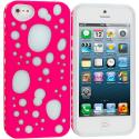Apple iPhone 5/5S/SE Pink / Blue Hybrid Bubble Hard/Soft Skin Case Cover Angle 1