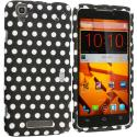 ZTE Boost Mobile Max N9520 Black / White Polka Dot Hard Rubberized Design Case Cover Angle 1