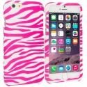 Apple iPhone 6 6S (4.7) Pink / White Zebra Hard Rubberized Design Case Cover Angle 1