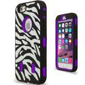 Apple iPhone 6 Plus 6S Plus (5.5) Purple Zebra Hybrid Deluxe Hard/Soft Case Cover Angle 2
