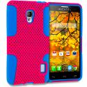 Alcatel One Touch Fierce 7024W Baby Blue / Hot Pink Hybrid Mesh Hard/Soft Case Cover Angle 1