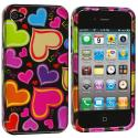 Apple iPhone 4 / 4S Rainbow Hearts Black Design Crystal Hard Case Cover Angle 1