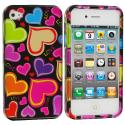 Apple iPhone 4 / 4S Rainbow Hearts Black Design Crystal Hard Case Cover Angle 2