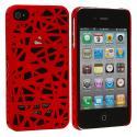Apple iPhone 4 / 4S Red Birds Nest Hard Rubberized Back Cover Case Angle 1