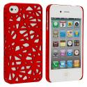 Apple iPhone 4 / 4S Red Birds Nest Hard Rubberized Back Cover Case Angle 2