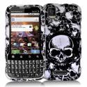 Motorola Xprt Black / White Skulls Design Crystal Hard Case Cover Angle 1