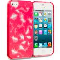 Apple iPhone 5/5S/SE Red Butterfly Cutout TPU Rubber Skin Case Cover Angle 1