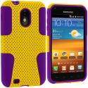 Samsung Epic Touch 4G D710 Sprint Galaxy S2 Purple / Yellow Hybrid Mesh Hard/Soft Case Cover Angle 1