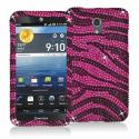Pantech Discover Black / Hot Pink Zebra Bling Rhinestone Case Cover Angle 1