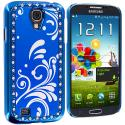 Samsung Galaxy S4 Blue Diamond Luxury Flower Case Cover Angle 3