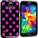 Samsung Galaxy S5 Black / Hot Pink TPU Polka Dot Skin Case Cover Angle 2