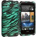 HTC Desire 601 Black/Baby Blue Zebra 2D Hard Rubberized Design Case Cover Angle 1