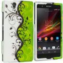 Sony Xperia Z Green / White Swirl 2D Hard Rubberized Design Case Cover Angle 1