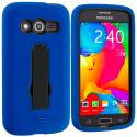 Samsung Galaxy Avant G386 Blue / Black Hybrid Heavy Duty Impact Case Cover with Stand Angle 2