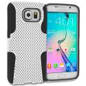 Samsung Galaxy S6 Black / White Hybrid Mesh Hard/Soft Case Cover Angle 1