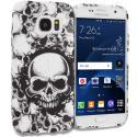 Samsung Galaxy S7 Edge Black White Skulls TPU Design Soft Rubber Case Cover Angle 1