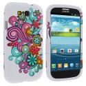 Samsung Galaxy S3 Flower Ribbon Hard Rubberized Design Case Cover Angle 1