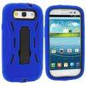 Samsung Galaxy S3 Blue / Black Hybrid Heavy Duty Hard/Soft Case Cover with Stand Angle 3